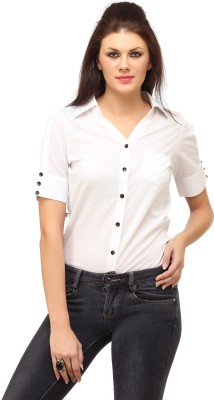 Cation Women's Solid Formal White Shirt