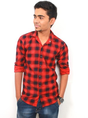Zebra Path Men's Checkered Party Reversible Red Shirt