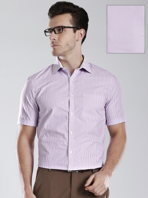 Invictus Men's Striped Casual Purple Shirt