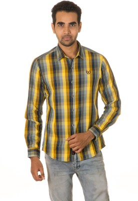 West Vogue Men's Checkered Casual Yellow Shirt