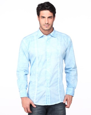 Fire & Ice Men's Solid Casual Light Blue Shirt