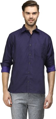 Mister Men's Self Design Casual Blue Shirt