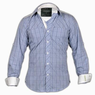 Blacksoul Men's Checkered Casual Light Blue Shirt