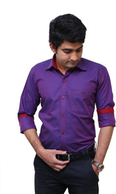 Benzoni Men's Checkered Formal Purple, Maroon Shirt