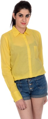 House of Tantrums Women's Solid Casual Yellow Shirt
