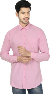 Perky Look Men's Solid Casual Pink Shirt