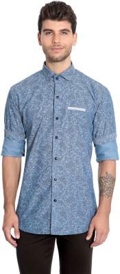 Estycal Men,s Printed Casual Linen Blue Shirt