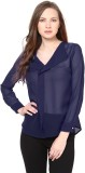 Besiva Women's Solid Party Blue Shirt