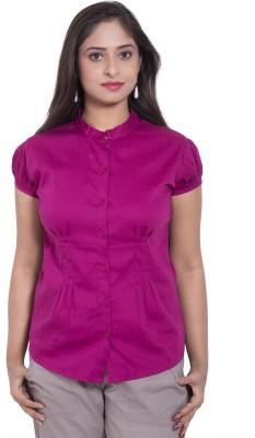 CURLLIE Women's Solid Formal Pink Shirt