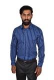Urban Grandeur Men's Striped Formal Blue...