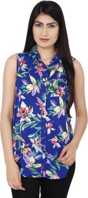 Zachi Women's Floral Print Casual Blue, Green Shirt