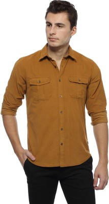 Derby Jeans Community Men's Solid Casual Brown Shirt
