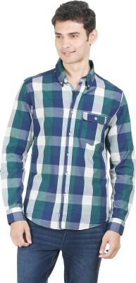 Flippd Men's Checkered Casual Green, Blue Shirt