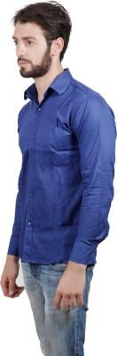 FDS Men's Solid Formal Dark Blue Shirt