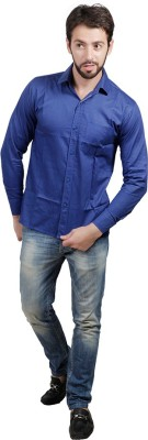 PSK Men's Solid Formal Blue Shirt