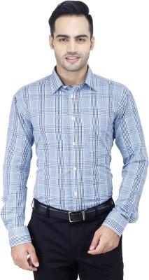 Euromens Men's Checkered Formal Blue Shirt