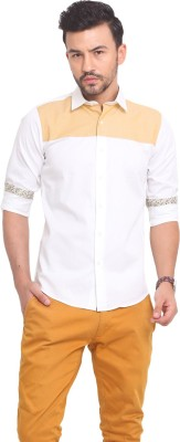Exitplay Men's Solid Casual White, Yellow Shirt
