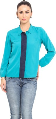 MSMB Women's Solid Casual Green, Blue Shirt