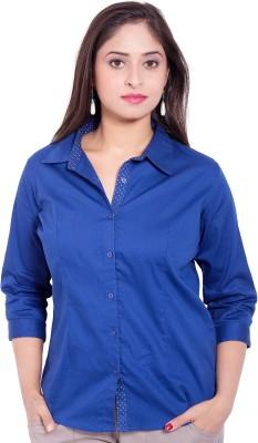 CURLLIE Women's Solid Formal Dark Blue Shirt