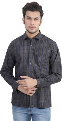 John Players Men's Checkered Formal Grey, Black Shirt