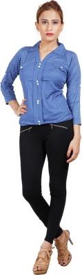 Sealion Women's Polka Print Casual Blue Shirt