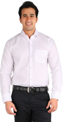 Ambience Men's Solid Formal White Shirt