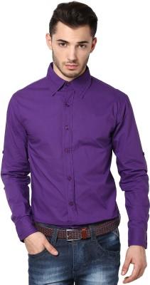 Punk Men's Solid Casual Purple Shirt