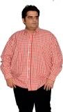 XMEX Men's Striped Formal Red Shirt