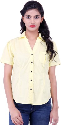 Fbbic Women's Solid Formal Yellow Shirt