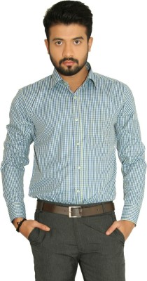 Indian Weller Men's Checkered Formal Green Shirt