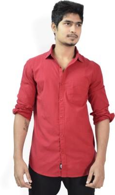 Hueman Men's Solid Casual Red Shirt