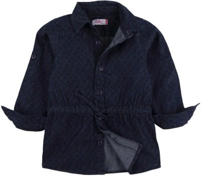 Oye Girl's Printed Casual Denim Blue Shirt