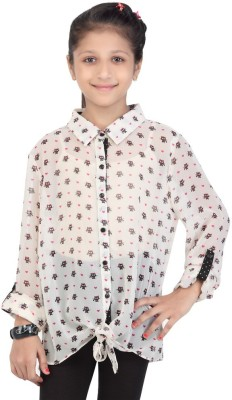 Life by Shoppers Stop Girl's Printed Casual White Shirt