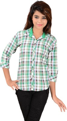 Jazzy Ben Women,s Checkered Casual Green Shirt