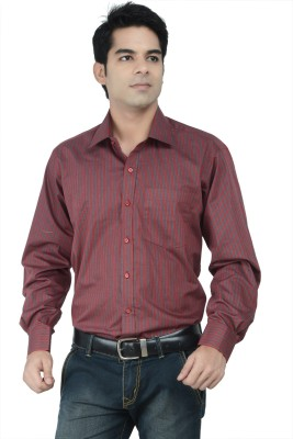 Alpha Centauri Men's Striped Formal Maroon Shirt
