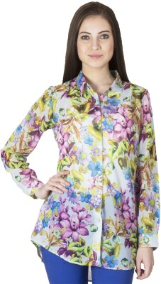 Paislei Women's Floral Print Casual Blue Shirt