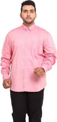 John Pride Men's Solid Casual Pink Shirt