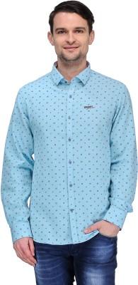 Canary London Men's Printed Casual Light Blue Shirt