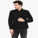PUNK Men's Solid Casual Black Shirt