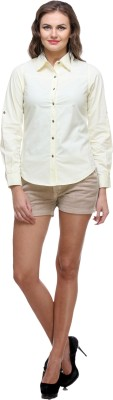 Meee Women,s Solid Casual Reversible White Shirt