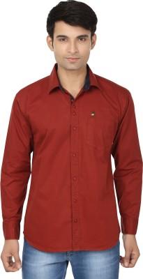 Fashion Flag Men's Solid Casual Maroon Shirt