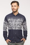 Royalion Men's Printed Casual Blue Shirt