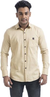 Swathe Men's Solid Casual Beige Shirt
