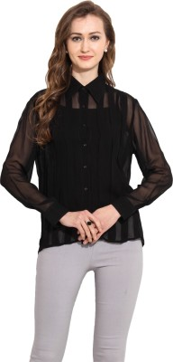 MSMB Women's Solid Casual Black Shirt