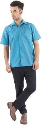 Warrior Men's Self Design Casual Light Blue Shirt