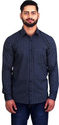 LEAF Men's Printed Casual Blue, White Shirt