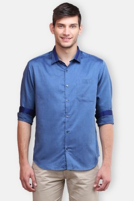 four one oh Men's Self Design Formal Blue Shirt