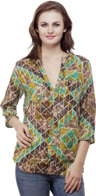 Mask Lifestyle Women's Geometric Print Casual Green, Multicolor Shirt