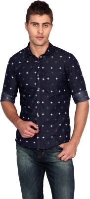 Unmask Men's Printed Casual, Party Blue Shirt