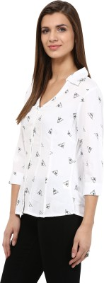 TheGudLook Women,s Printed Casual White Shirt